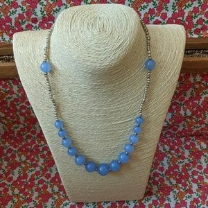 Handmade silver and periwinkle beaded necklace
